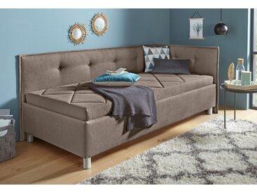 Maintal Polsterliege, mit Seiten- und Rückenteil Struktur (100% Polyester), 90x200 cm, Bonnell-Federkernmatratze, H2, Seitenteil rechts beige Einzelbetten Betten Komplettbetten