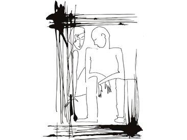 queence Acrylglasbild Mann und Frau 100x150 cm schwarz Acrylglasbilder Bilder Bilderrahmen Wohnaccessoires