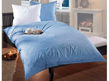 Ballonbett + Federkissen, Leon, RIBECO, (Spar-Set) saphirblau, 2x 155x220 cm 80x80 blau Allergiker Bettdecke Bettdecken Bettdecken, Kopfkissen Unterbetten Bettwaren-Sets
