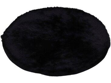 Hochflor-Teppich, Breeze, carpetfine, rund, Höhe 45 mm, handgetuftet (Ø 200 cm), mm schwarz Shaggy-Teppiche Hochflor-Teppiche Teppiche