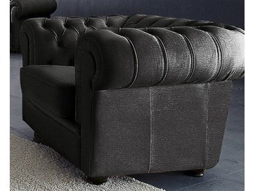 Max Winzer Chesterfield-Sessel Kent Kunstleder SOFTLUX® schwarz Chesterfield Sessel