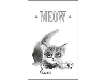 queence Leinwandbild Katze MEOW 80x120 cm grau Leinwandbilder Bilder Bilderrahmen Wohnaccessoires
