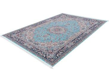 LALEE Teppich Royal 900, rechteckig, 12 mm Höhe, Orient Optik, Kurzflor mit Fransen, Wohnzimmer 6, 200x290 cm, blau Schlafzimmerteppiche Teppiche nach Räumen