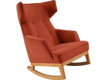 TOM TAILOR Schaukelstuhl COZY, im Retrolook, mit Kedernaht und Knöpfung, Füße Eiche natur B/H/T: 80 cm x 115 88 cm, Samtstoff TSV orange Weitere Sessel Wohnzimmer