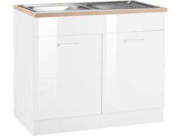 HELD MÖBEL Spülenschrank Haiti B/H/T: 100 cm x 85 60 weiß Spülenschränke Küchenschränke Küchenmöbel