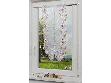 Stickereien Plauen Bändchenrollo Michelle, mit Stangendurchzug 90 cm, Stangendurchzug, 40 cm weiß Halbtransparente Gardinen Vorhänge
