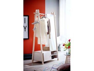 Home affaire Garderobenständer Ward, aus massivem weiß lackiertem Fichtenholz, Höhe 170 cm 125x47x170 Ständer, Halterungen Haken Aufbewahrung Ordnung Wohnaccessoires