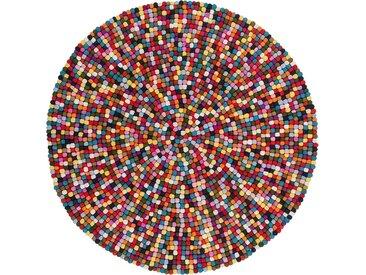Obsession Wollteppich My Passion 730, rund, 30 mm Höhe, Filzkugel-Teppich, reine Wolle, Wohnzimmer B/L: 120 cm x Ø cm, 1 St. bunt Kinder Bunte Kinderteppiche Teppiche