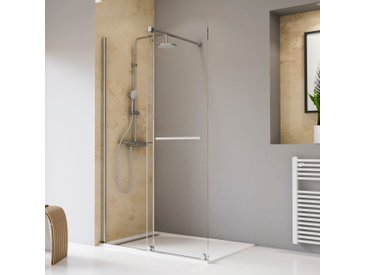 Schulte Walk-in-Dusche Toura, mit Schiebetür und Handtuchhalter nur links montierbar silberfarben Duschwände Duschen Bad Sanitär