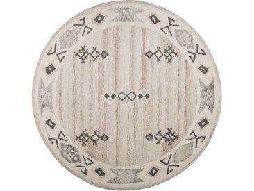 THEKO Wollteppich Royal Berber, rund, 18 mm Höhe, reine Wolle, Wohnzimmer Ø 150 cm, 1 St. beige Schlafzimmerteppiche Teppiche nach Räumen