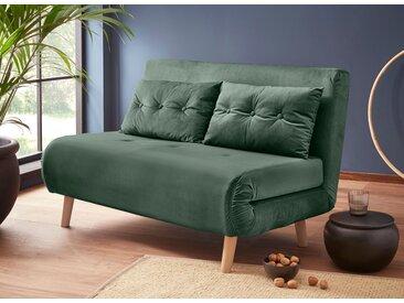 my home Daybett, mit ausziehbaren Metallstützbeinen, Schlafsessel in zwei Größen erhältlich, modernes Gästebett Breite: 125 cm Samtvelours, Liegefläche B/L: x 195 cm, Gewicht, Schaumstoffmatratze grün Tagesbetten Gästebetten Betten Daybett