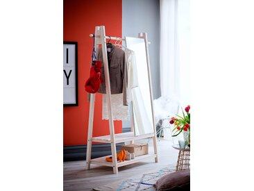 Home affaire Garderobenständer Ward, aus schönem weiß lackierten Fichtenholz, Höhe 170 cm 125x56x170 Ständer, Halterungen Haken Aufbewahrung Ordnung Wohnaccessoires