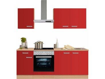 OPTIFIT Küchenzeile Odense, mit E-Geräten, Breite 210 cm, 28 mm starker Arbeitsplatte, Gratis Besteckeinsatz B: cm rot Küchenzeilen Geräten -blöcke Küchenmöbel