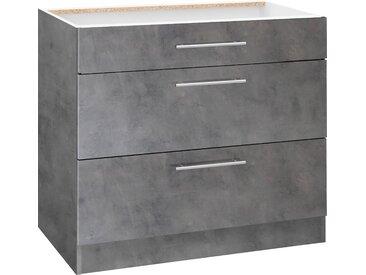 wiho Küchen Unterschrank Cali 90 x 82 57 (B H T) cm grau Unterschränke Küchenschränke Küchenmöbel Schränke