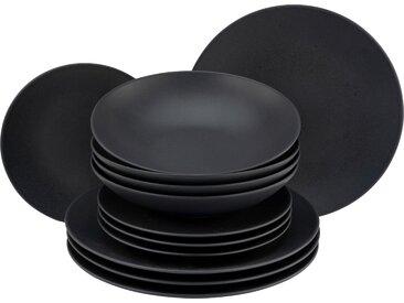 CreaTable Tafelservice Soft Touch Black, (Set, 12 tlg.), seidenmatte Glasur Einheitsgröße schwarz Geschirr-Sets Geschirr, Porzellan Tischaccessoires Haushaltswaren