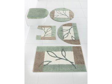 Badgarnitur mit Blätter Design 6, ca. 75 cm, rund grün Gemusterte Badematten