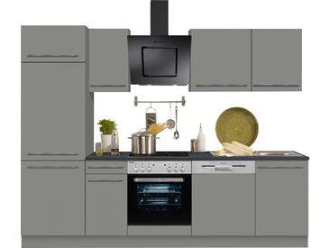 OPTIFIT Küchenzeile Bern, ohne E-Geräte, Breite 270 cm, mit höhenverstellbaren Füßen, gedämpfte Türen und Schubkästen, Metallgriffe B: cm grau Küchenzeilen Geräte -blöcke Küchenmöbel