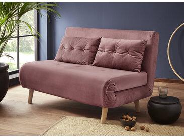 my home Daybett, mit ausziehbaren Metallstützbeinen, Schlafsessel in zwei Größen erhältlich, modernes Gästebett Samtvelours Breite: 125 cm, Liegefläche B/L: cm x 195 Gewicht, Schaumstoffmatratze rosa Tagesbetten Gästebetten Betten Daybett