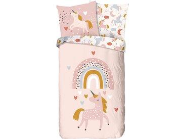 good morning Kinderbettwäsche Unilove, bedruckt mit Einhorn B/L: 135 cm x 200 (1 St.), 80 Renforcé rosa Bettwäsche 135x200 nach Größe Bettwäsche, Bettlaken und Betttücher