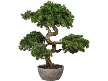 Creativ green Kunstbonsai Bonsai Lärche, in Schale aus Naturmaterial B/H: 50 cm x 65 grün Künstliche Zimmerpflanzen Kunstpflanzen Wohnaccessoires