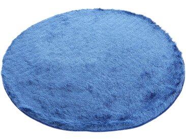 Hochflor-Teppich, Breeze, carpetfine, rund, Höhe 45 mm, handgetuftet (Ø 300 cm), mm blau Shaggy-Teppiche Hochflor-Teppiche Teppiche