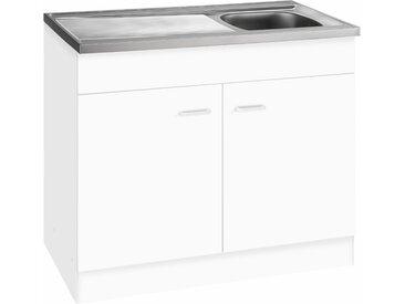 HELD MÖBEL Spülenschrank Elster, Breite 100 cm B/H/T: x 85 50 cm, 2 weiß Unterschränke Küchenschränke Küchenmöbel