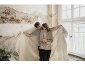IBENA Wohndecke Jacquard Decke Salerno, gestreift B/L: 140 cm x 200 grau Baumwolldecken Decken