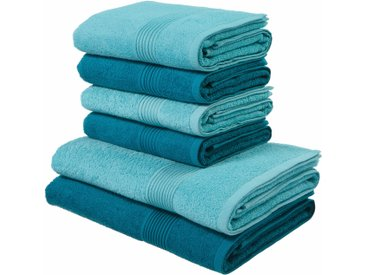 Handtuch Set, Anna, my home (Set) 6tlg.-Set blau Handtuch-Sets Handtücher Badetücher Handtuchset