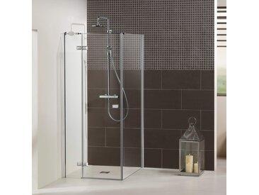 Dusbad Eckdusche Vital 1, Drehtür links mit Seitenwand B/H: 115 cm x 200 cm, nur montierbar grau Duschkabinen Duschen Bad Sanitär Bodenablauf