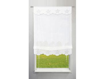 my home Bändchenrollo Sterne, mit Stangendurchzug 130 cm, Stangendurchzug, 140 cm weiß Wohnzimmergardinen Gardinen nach Räumen Vorhänge