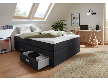 INOSIGN Boxspringliege Webstoff, 140x200 cm, 5-Zonen-Taschen-Federkernmatratze, H3 schwarz Einzelbetten Betten Komplettbetten