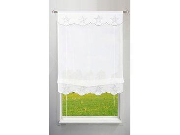 my home Bändchenrollo Sterne, mit Stangendurchzug 130 cm, Stangendurchzug, 100 cm weiß Wohnzimmergardinen Gardinen nach Räumen Vorhänge