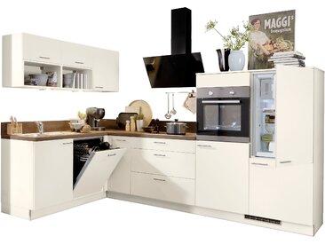 Express Küchen Winkelküche Scafa, mit E-Geräten, Stellbreite 305 x 185 cm EEK C Spüle links beige L-Küchen Küchenzeilen -blöcke Küchenmöbel Arbeitsmöbel-Sets