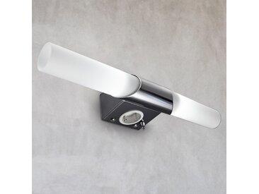 B.K.Licht Spiegelleuchte Mithra, E14, Warmweiß, LED Wandlampe Spiegellampe Badezimmer Metall Glas E14 Bad-Lampe mit Steckdose 2 flg., Höhe: 6 cm weiß Badleuchten SOFORT LIEFERBARE Lampen Leuchten