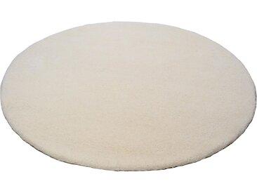 THEKO Wollteppich Amravati, rund, 28 mm Höhe, reine Wolle, echter Berber, handgeknüpft, Wohnzimmer 9 (Ø 150 cm), weiß Schlafzimmerteppiche Teppiche nach Räumen