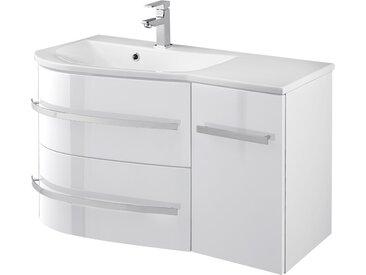 welltime Waschtisch OSLO, Breite 90cm, geschwungene Form, Ablage rechts 90 cm x 50 weiß Waschtische Badmöbel