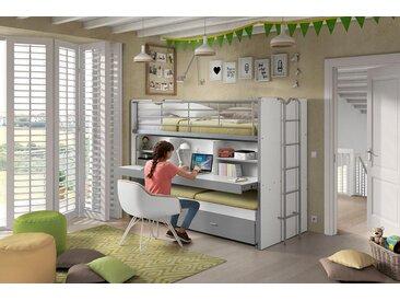 Vipack Hochbett Bonn, mit Schreibtisch und 3 Schlafgelegenheiten Liegeflächen B/L: 90 cm x 200 Höhe 161 cm, kein Härtegrad, ohne Matratze grau Kinder Kinderbetten Kindermöbel