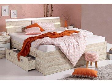 Schlafkontor Stauraumbett Mars, inklusive 2 Schubkästen LED-Leuchtmittel, Liegefläche B/L: 180 cm x 200 Betthöhe: 46 cm, kein Härtegrad, ohne Matratze braun Betten