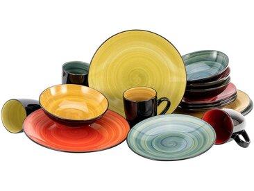 CreaTable Kombiservice Samoa (16-tlg.), Steinzeug Einheitsgröße bunt Geschirr-Sets Geschirr, Porzellan Tischaccessoires Haushaltswaren