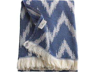 TOM TAILOR Wohndecke Zig Zag, mit feinem Fransenabschluss B/L: 140 cm x 180 blau Baumwolldecken Decken