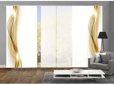 HOME WOHNIDEEN Schiebegardine NEBLANA 6er SET, Dekostoff-Seidenoptik, Digital bedruckt 245 cm, Paneelwagen, 60 cm goldfarben Wohnzimmergardinen Gardinen nach Räumen Vorhänge