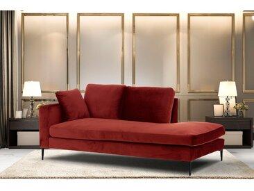 Leonique Recamiere Cozy, mit losen Kissen und Metallbeinen, Armlehne links oder rechts wählbar B/H/T: 195 cm x 80 97 cm, Samtoptik, rot Chaiselongues Recamieren Sofas Couches