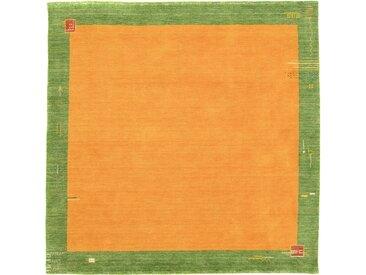morgenland Wollteppich GABBEH BAROSSA, rechteckig, 18 mm Höhe, reine Schurwolle Bordüre, Wohnzimmer 250x250 cm, orange Schlafzimmerteppiche Teppiche nach Räumen