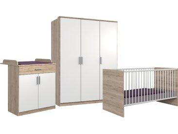 Wimex Babyzimmer-Komplettset Kiel, (3 St.), Bett + Wickelkommode 3-trg. Schrank ohne Schubladen, B/H: 70 cm x 140 weiß Baby Baby-Möbel-Sets Babymöbel