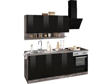 HELD MÖBEL Küchenzeile Virginia, ohne E-Geräte, Breite 210 cm B: schwarz Küchenzeilen Geräte -blöcke Küchenmöbel
