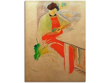 Artland Wandbild Frau mit roter Schürze auf Balkon (Elisabeth) 90x120 cm, Leinwandbild bunt Bilder Bilderrahmen Wohnaccessoires
