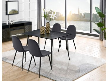 Leonique Essgruppe Eadwine, (Set, 5 tlg.), bestehend aus Eadwine Esstisch 120 cm und 4 Esszimmerstühlen Schwarzer grau Essgruppen Tische Sitzmöbel-Sets