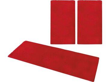 my home Bettumrandung Norton, Kaninchenfell-Haptik B/L (Brücke): 80 cm x 150 (2 St.) (Läufer): 270 (1 St.), rechteckig rot Bettumrandungen Läufer Teppiche
