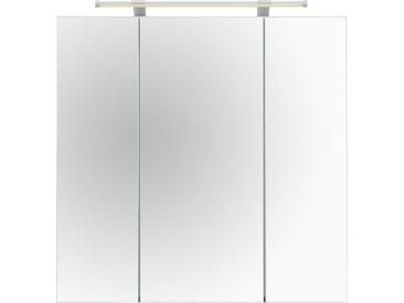 Schildmeyer Spiegelschrank Dorina, Breite 70 cm, 3-türig, LED-Beleuchtung, Schalter-/Steckdosenbox, Glaseinlegeböden, Made in Germany B/H/T: cm x 71 16 3 grau Spiegelschränke mit Beleuchtung Badmöbel