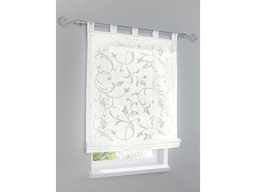 Raffrollo Ausbrenner 3, ca. 140/80 cm, mit Schlaufen weiß Blickdichte Vorhänge Gardinen Rollos Jalousien